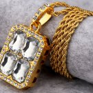 Hip Hop Fashion Gold Plated Crystals White Pendent Necklace