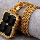 Hip Hop Fashion Gold Plated Crystals Black Pendent Necklace