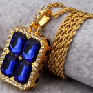 Hip Hop Fashion Gold Plated Crystals Blue Pendent Necklace