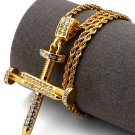 Hip Hop Fashion Gold Plated Crystals Nail Cross Pendent Necklace