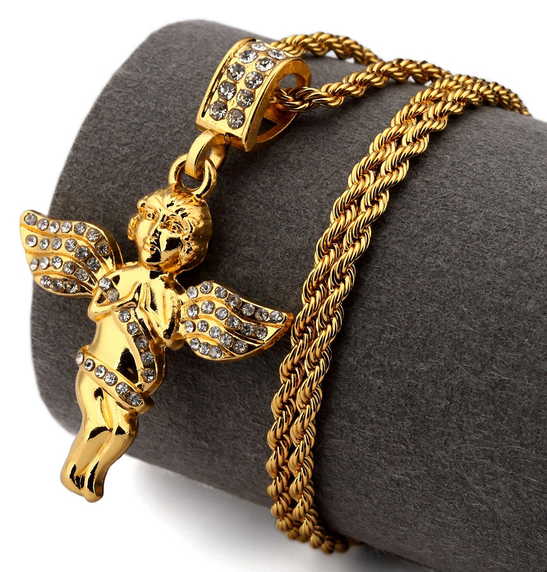 Hip Hop Fashion Gold Plated Crystals Angel Pendent Necklace