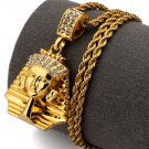 Hip Hop Fashion Gold Plated Crystals Pharaoh Pendent Necklace