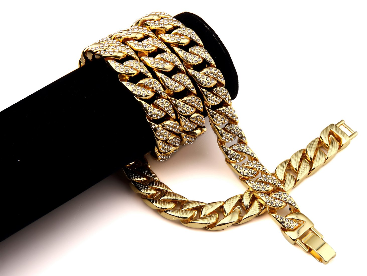 Hip Hop Fashion Gold Plated 75cm x 1.4cm 232g Crystals Necklace