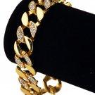 Hip Hop Fashion Gold Plated 20cm x 1.5cm 35g Crystals Bracelet