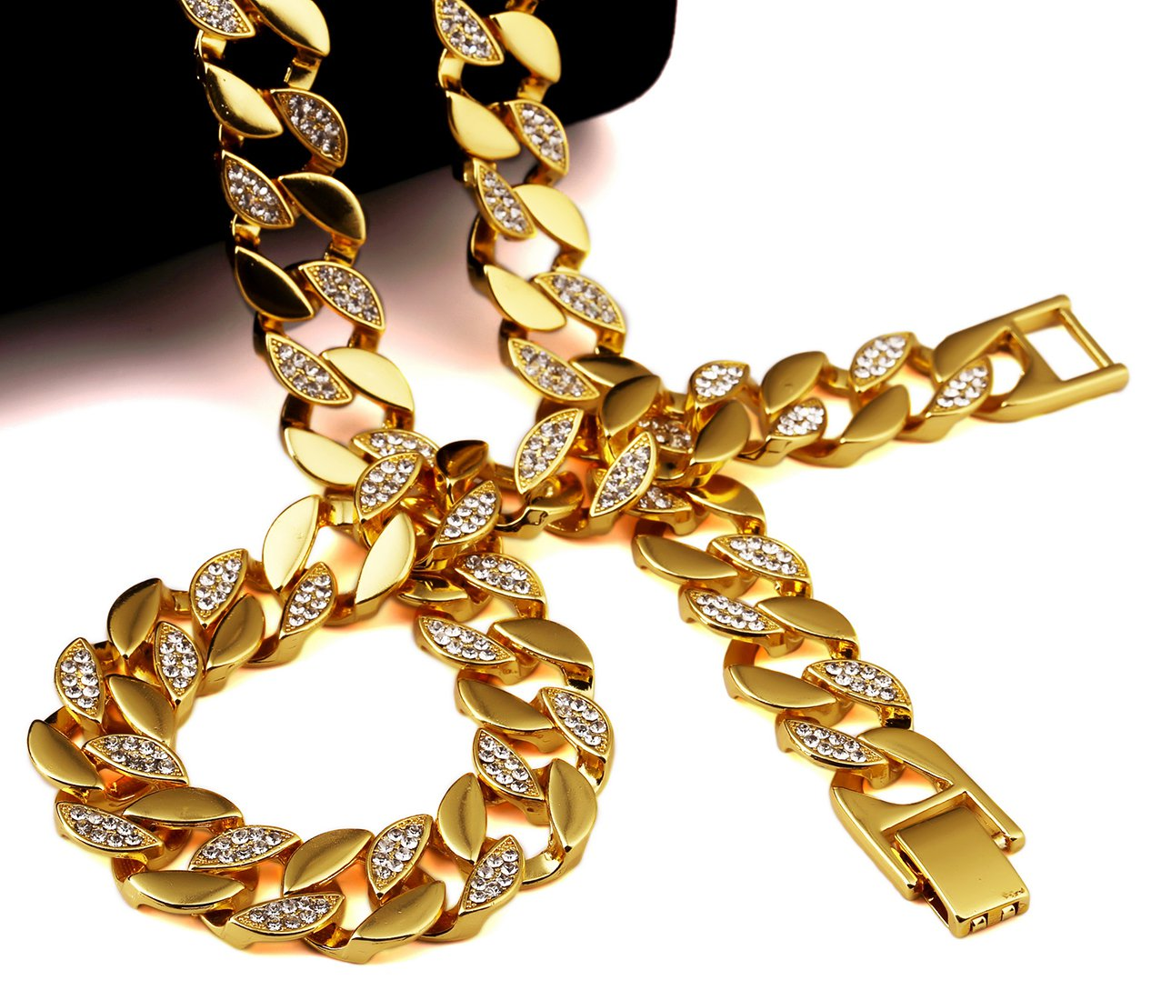 Hip Hop Fashion Gold Plated 75cm x 1.5cm 128g Crystals Necklace