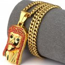 Hip Hop Fashion Gold Plated Red Crystals Jesus Pendent Necklace