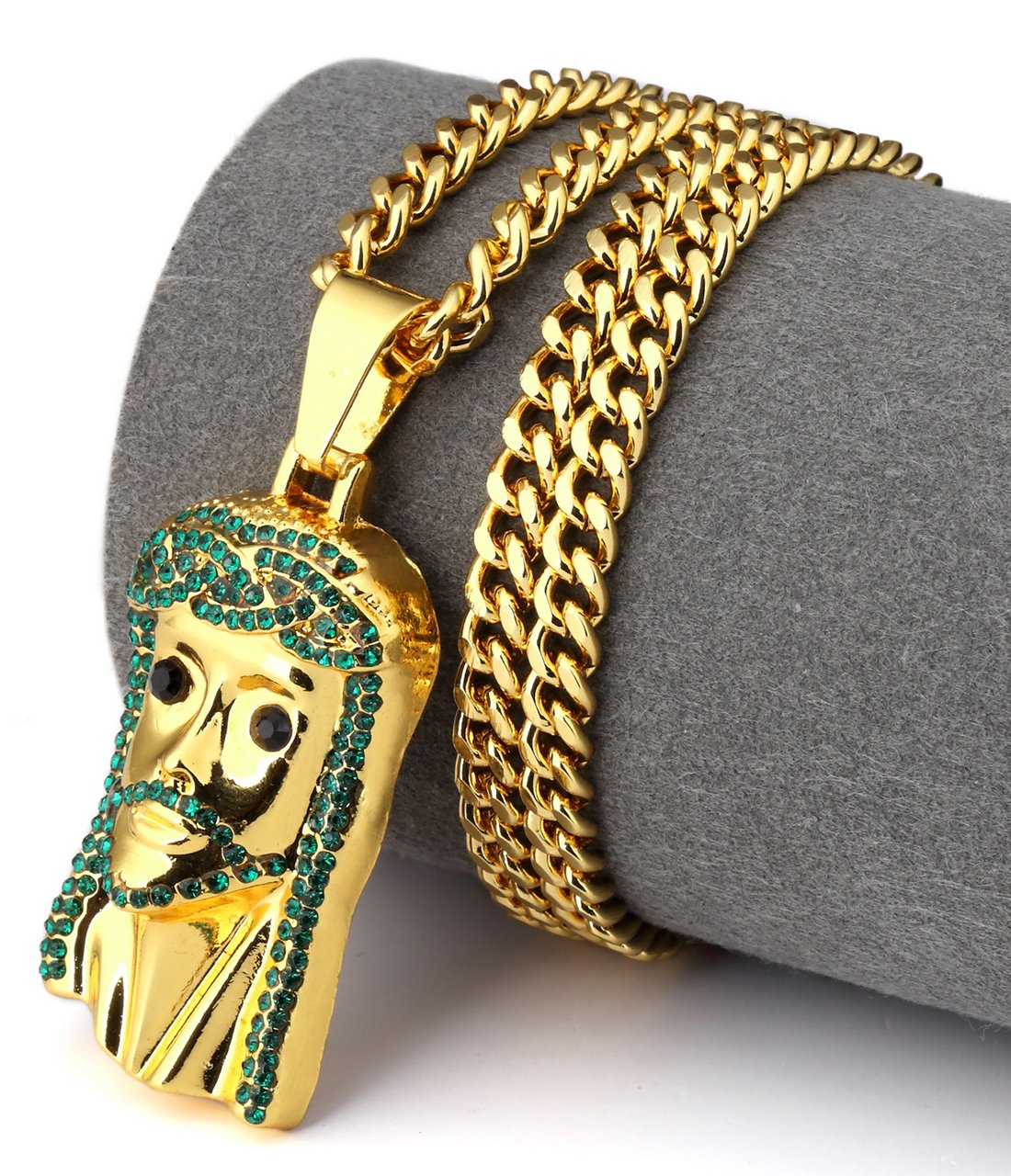 Hip Hop Fashion Gold Plated Green Crystals Jesus Pendent Necklace