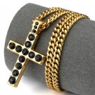 Hip Hop Fashion Gold Plated Black Crystals Cross Pendent Necklace