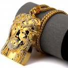 Hip Hop Fashion Gold Plated Crystals Jesus Pendent Necklace