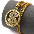 Hip Hop Fashion Gold Plated Crystals Money Pendent Necklace