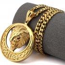 Hip Hop Fashion Steel 3D Lion Gold Pendent Necklace