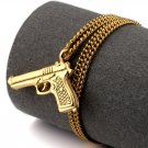 Hip Hop Fashion Steel Gun Gold Pendent Necklace
