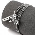 Hip Hop Fashion Steel Gun Silver Pendent Necklace