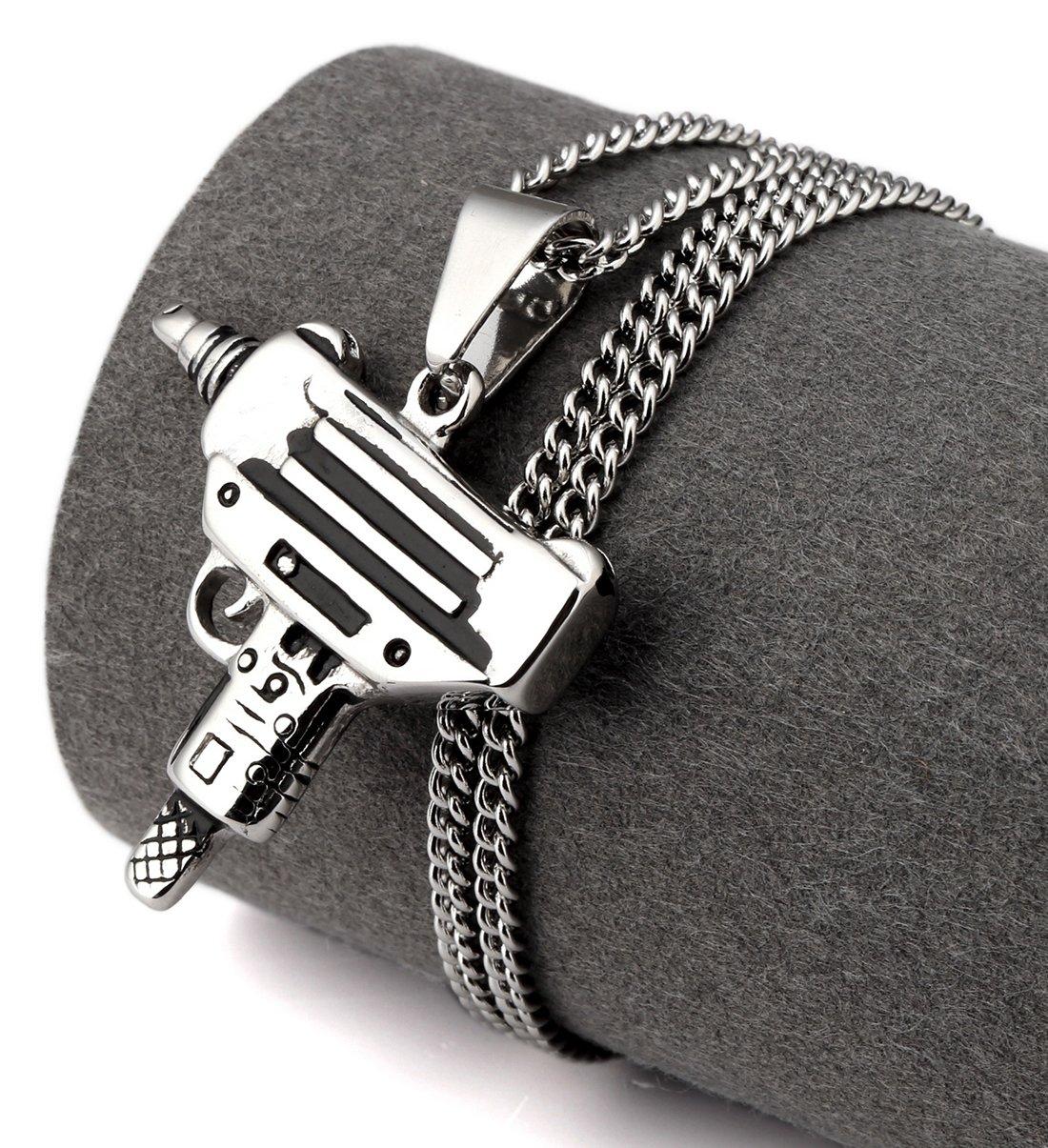 Hip Hop Fashion Steel Machine Gun Silver Pendent Necklace