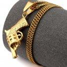 Hip Hop Fashion Steel Revolver Gold Pendent Necklace