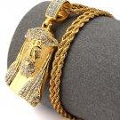 Hip Hop Fashion Steel Crystals Jesus Pendent Necklace
