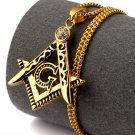 Hip Hop Fashion Steel Crystals Freemasonry Logo Gold Pendent Necklace