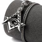 Hip Hop Fashion Steel Crystals Freemasonry Logo Silver Pendent Necklace