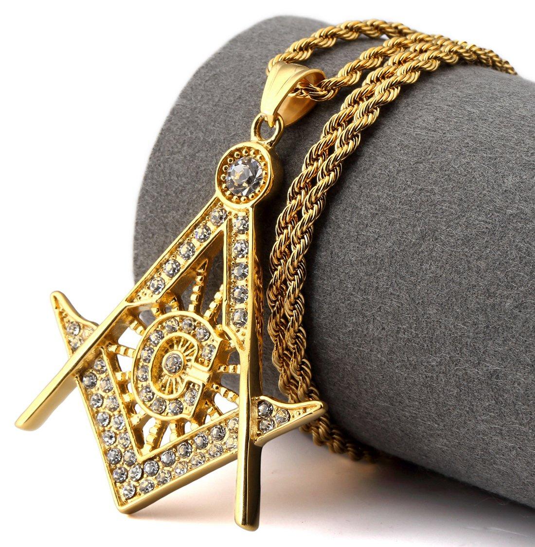 Hip Hop Fashion Steel Small Size Crystals Freemasonry Logo Pendent Necklace
