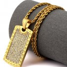 Hip Hop Fashion Steel Crystals Freemasonry Pattern Dog Tag Pendent Necklace