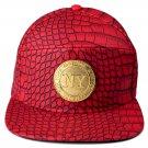 Hip Hop Fashion Unisex Alligator Pattern Metal NY Coins Tag Red Baseball Cap