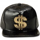 Hip Hop Fashion Unisex Alligator Pattern Crystals Money Tag Black Baseball Cap