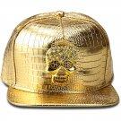 Hip Hop Fashion Unisex Alligator Pattern Crystals Skull Tag Gold Baseball Cap