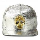 Hip Hop Fashion Unisex Alligator Pattern Crystals Skull Tag Silver Baseball Cap