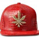 Hip Hop Fashion Unisex Alligator Pattern Crystals Hemp Tag Red Baseball Cap