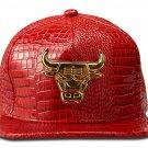 Hip Hop Fashion Unisex Alligator Pattern Bull Tag Red Baseball Cap