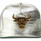Hip Hop Fashion Unisex Alligator Pattern Bull Tag Silver Baseball Cap