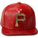 Hip Hop Fashion Unisex Alligator Pattern Crystals P Tag Red Baseball Cap