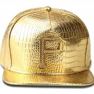 Hip Hop Fashion Unisex Alligator Pattern Crystals P Tag Gold Baseball Cap