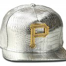 Hip Hop Fashion Unisex Alligator Pattern Crystals P Tag Silver Baseball Cap