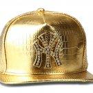 Hip Hop Fashion Unisex Alligator Pattern Crystals NY Tag Gold Baseball Cap