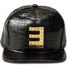Hip Hop Fashion Unisex Alligator Pattern Crystals E Tag Black Baseball Cap