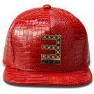 Hip Hop Fashion Unisex Alligator Pattern Crystals E Tag Red Baseball Cap