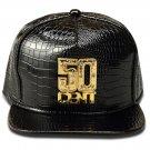 Hip Hop Fashion Unisex Alligator Pattern Crystals 50CENT Tag Black Baseball Cap