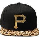 Hip Hop Fashion Unisex Crystals P Tag Leopard Baseball Cap