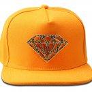 Hip Hop Fashion Unisex Crystals Diamond Tag Yellow Baseball Cap