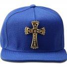Hip Hop Fashion Unisex Crystals Cross Tag Blue Baseball Cap