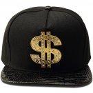 Hip Hop Fashion Unisex Crystals Money Tag Black Baseball Cap