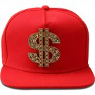 Hip Hop Fashion Unisex Crystals Money Tag Red Baseball Cap