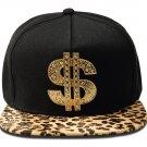 Hip Hop Fashion Unisex Crystals Money Tag Leopard Baseball Cap