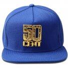 Hip Hop Fashion Unisex Crystals 50CENT Tag Blue Baseball Cap