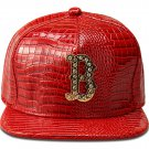 Hip Hop Fashion Unisex Alligator Pattern Crystals B Tag Red Baseball Cap