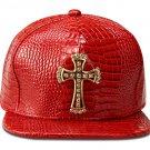 Hip Hop Fashion Unisex Alligator Pattern Crystals Cross Tag Red Baseball Cap