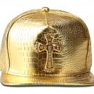 Hip Hop Fashion Unisex Alligator Pattern Crystals Cross Tag Gold Baseball Cap