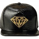 Hip Hop Fashion Unisex Alligator Pattern Crystals Diamond Tag Black Baseball Cap