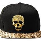 Hip Hop Fashion Unisex Crystals Skull Tag Leopard Baseball Cap